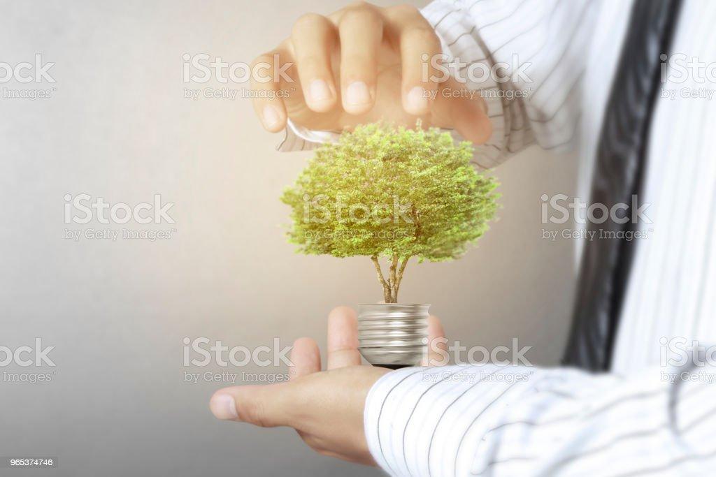 Green energy symbols ecology, light bulb zbiór zdjęć royalty-free