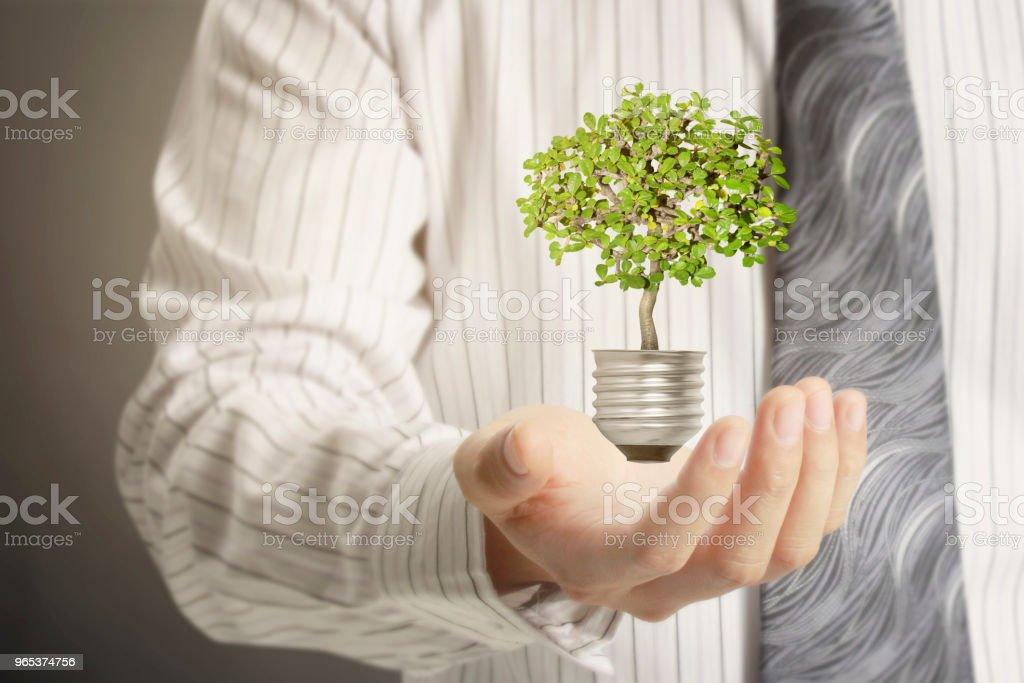 Green energy symbols ecology, light bulb royalty-free stock photo