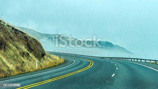 istock Green Energy Windmills in Columbia River Gorge Highway 97 Oregon 1311375589