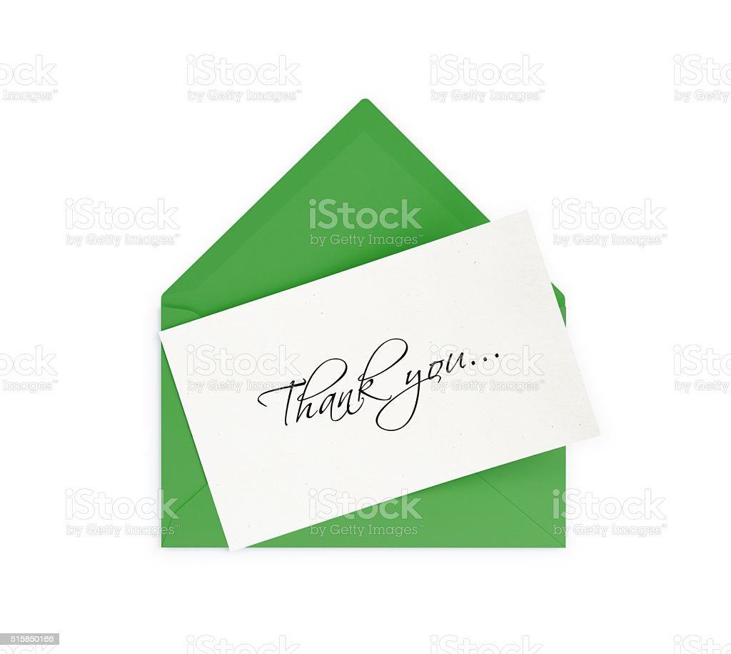 Green Envelope and Thank you Note stock photo