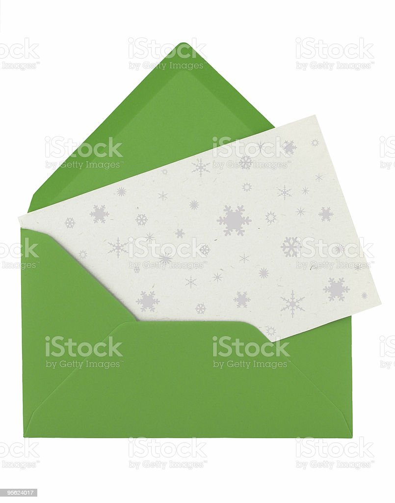 green envelope with a Christmas card royalty-free stock photo