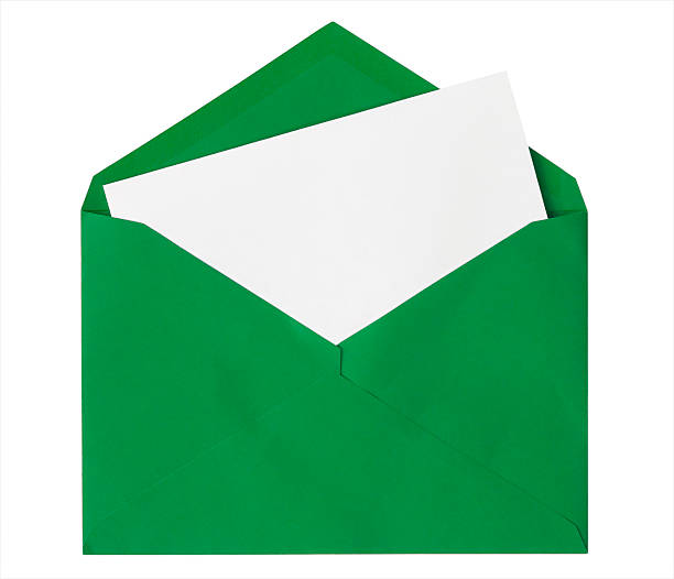 Green Envelope With Blank Card, Isolated on White stock photo