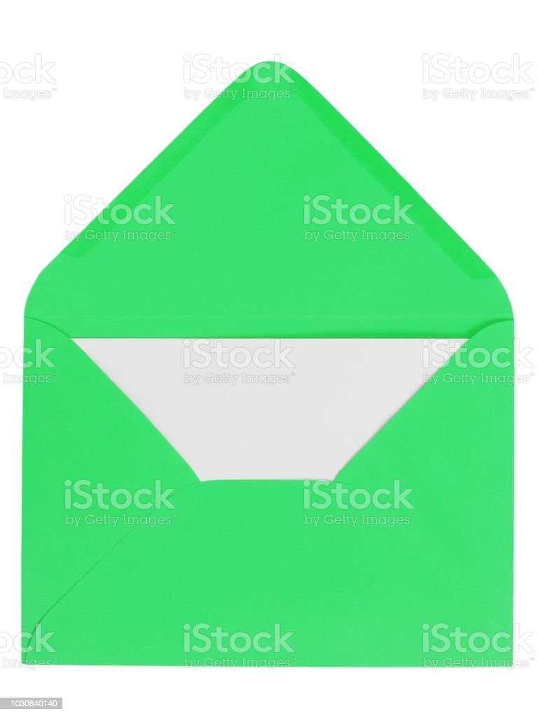 Green envelope with letter stock photo