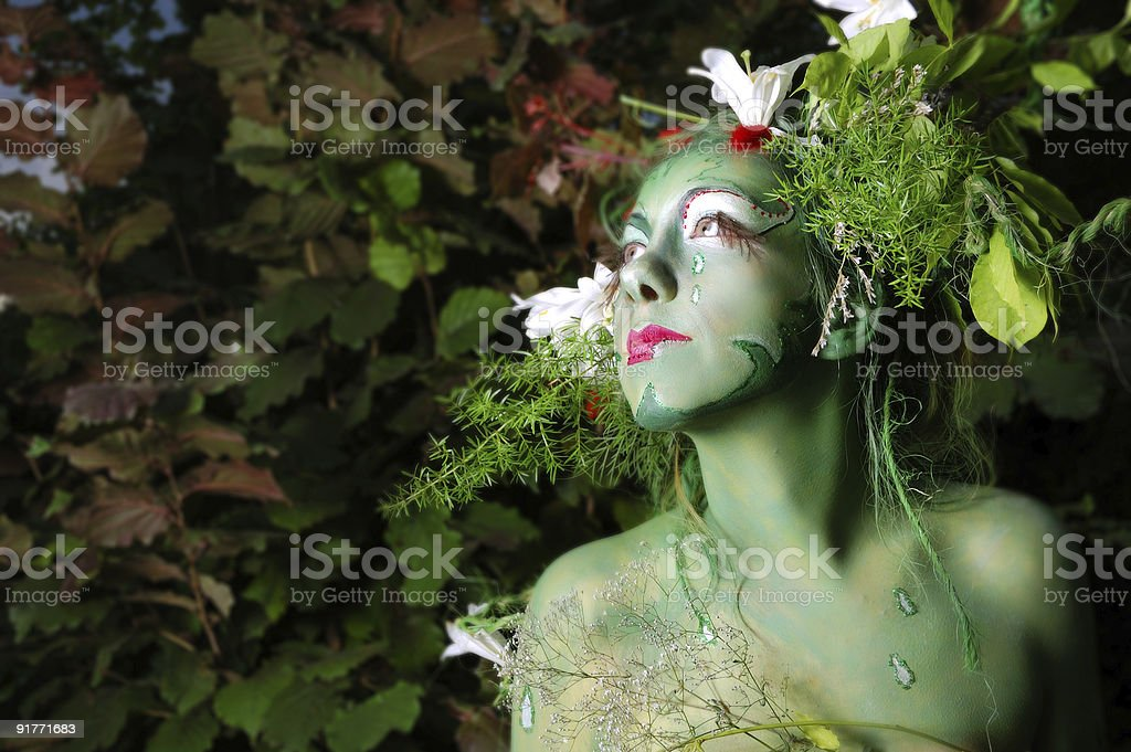 Green environmental face painting royalty-free stock photo
