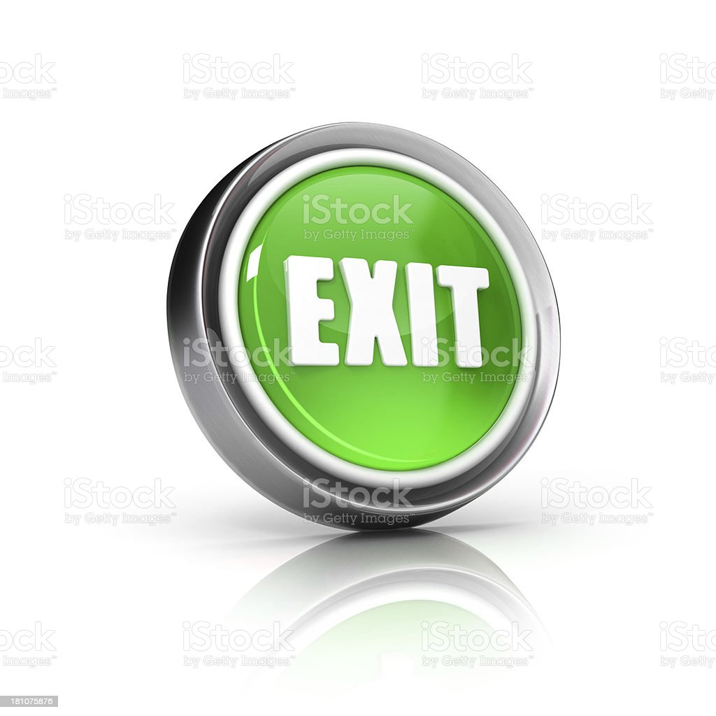 green exit sign glossy  icon royalty-free stock photo