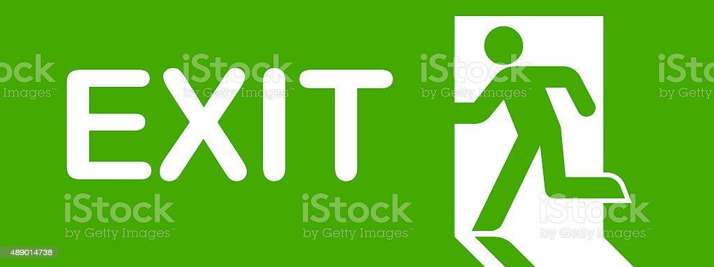 green exit simbol stock photo