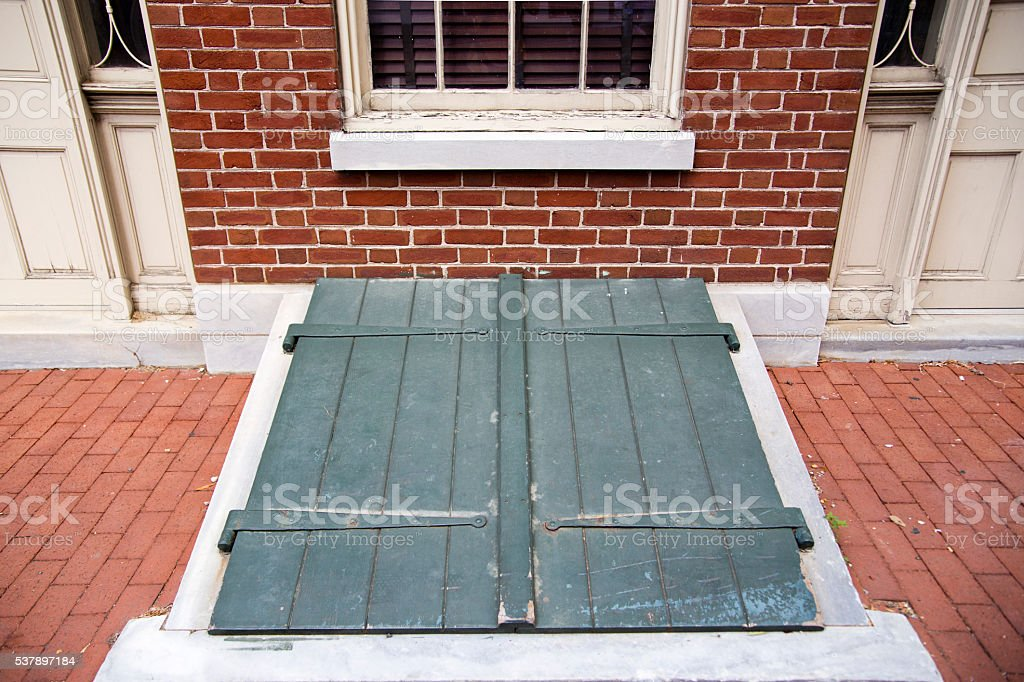 Charmant Green Exterior Storm Cellar Doors   Stock Image .