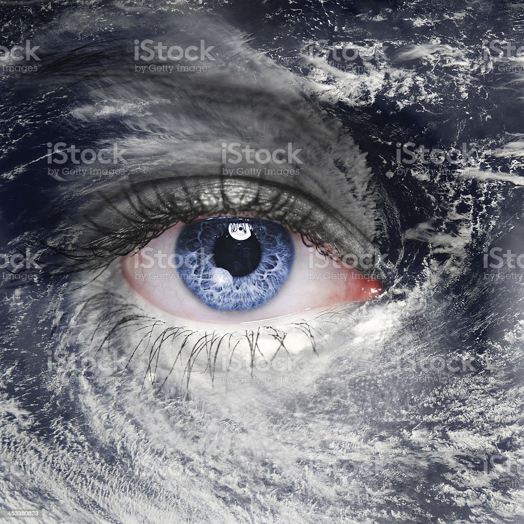 green eye in the middle of a hurricane stock photo