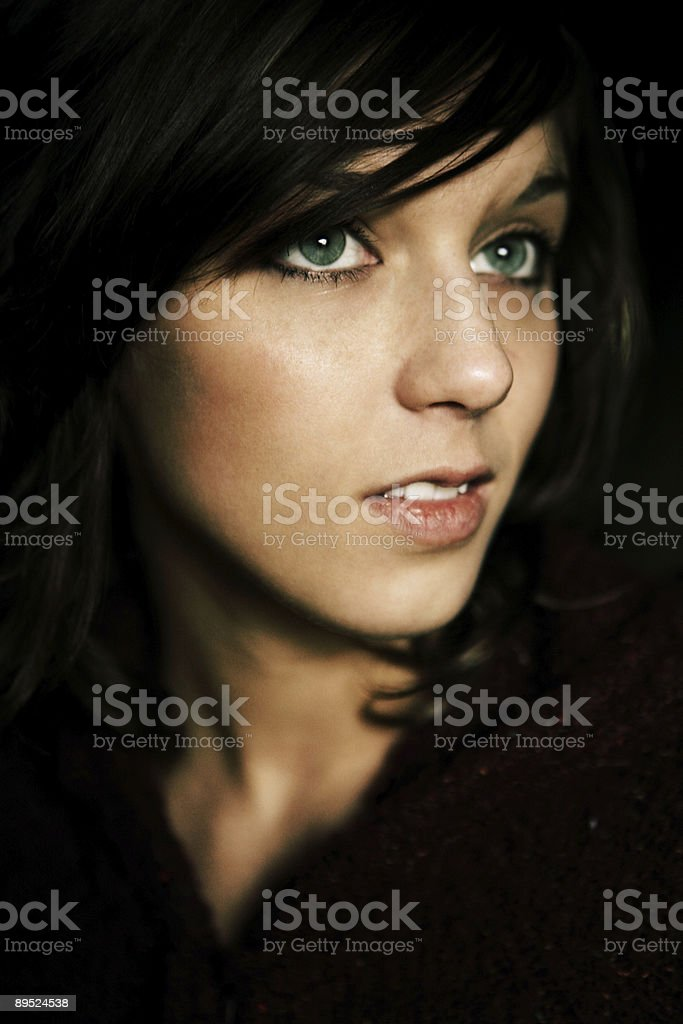 Green Eyed Brunette de toma vertical foto de stock libre de derechos