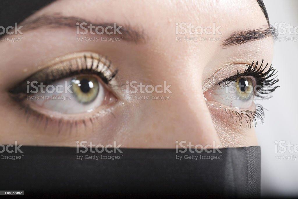 Green Eyes: Beautiful women wearing a Hijab stock photo