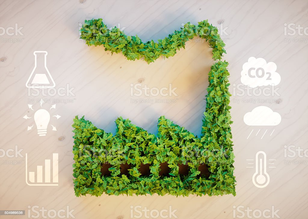 Green factory concept stock photo