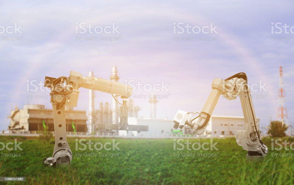 green factory,robots stock photo