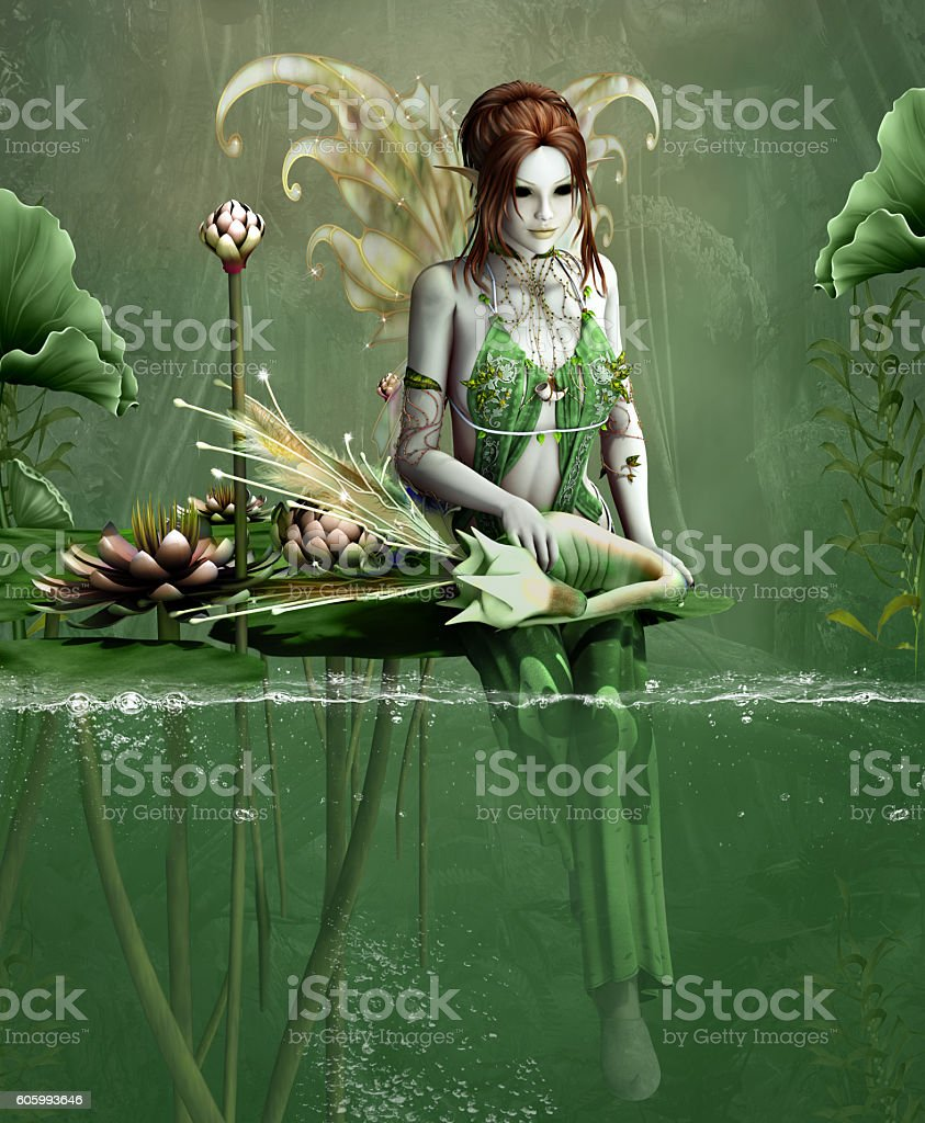 Green fairy with little fantasy dragon and water lilies stock photo