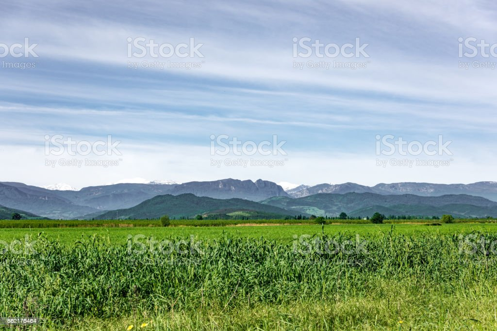 Green farm fields and gardens in the foothills stock photo