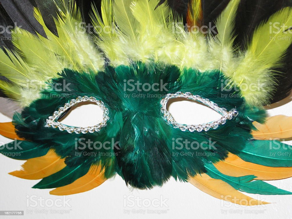 Green Feather Mask royalty-free stock photo