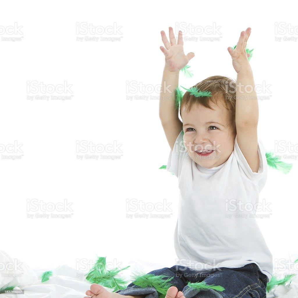Green feathers rain royalty-free stock photo