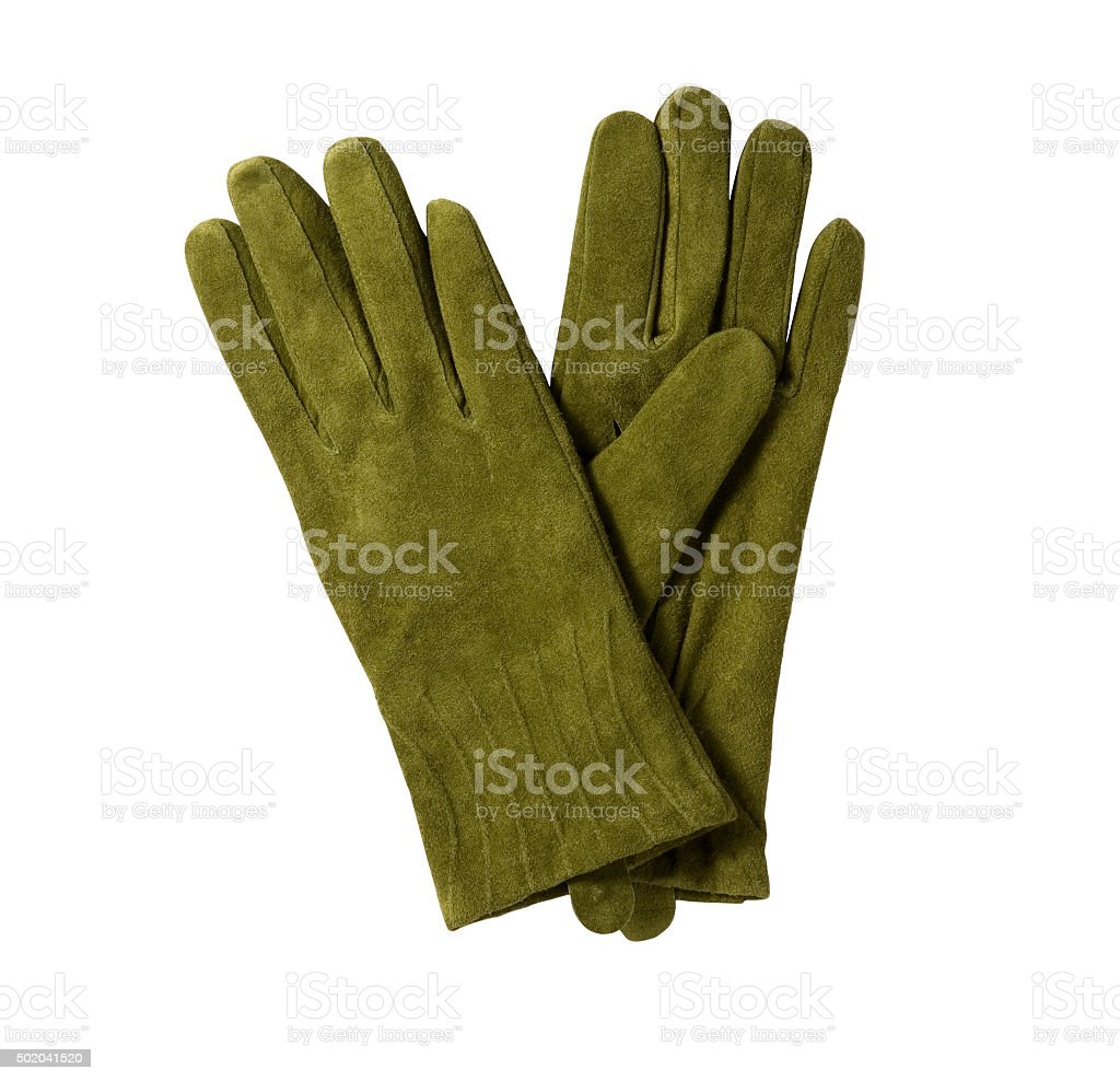green felt gloves stock photo