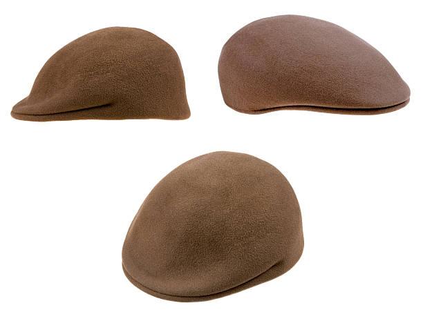 green filz mans cap - schiebermütze stock-fotos und bilder