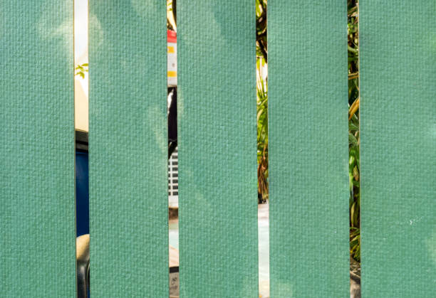 green fence in garden background under sunlight - palisade boundary stock photos and pictures