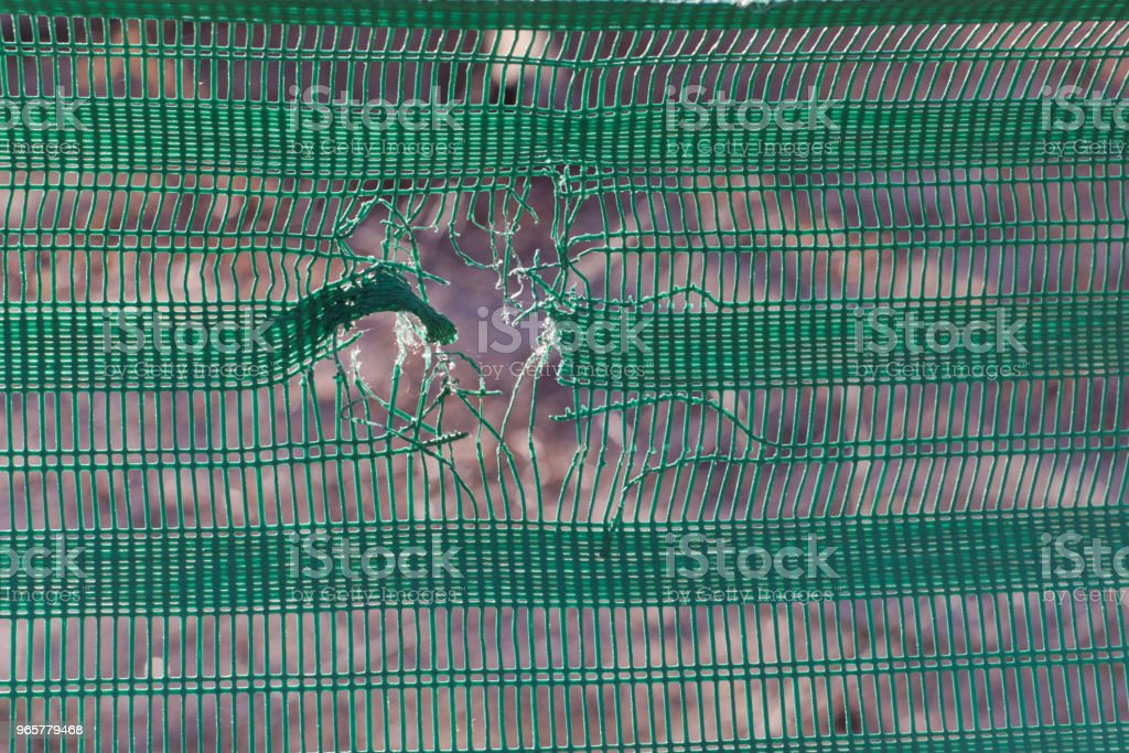 Een groen hek dat is beschadigd - Royalty-free Achtergrond - Thema Stockfoto
