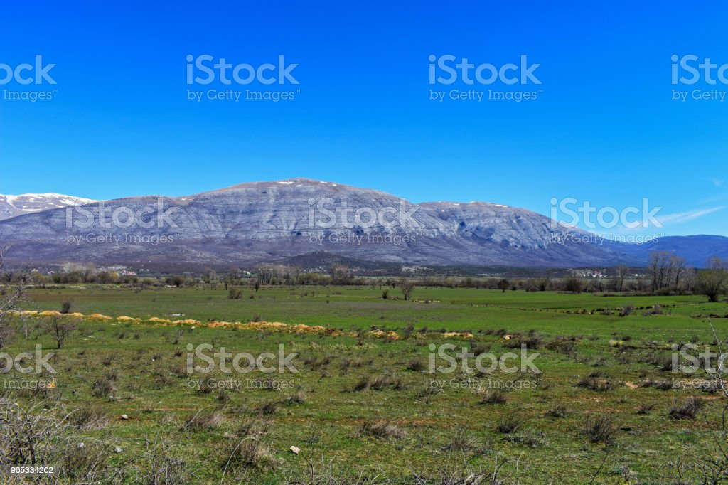 Green Field and mountain background and nature view in countryside/ landscape nature photography royalty-free stock photo