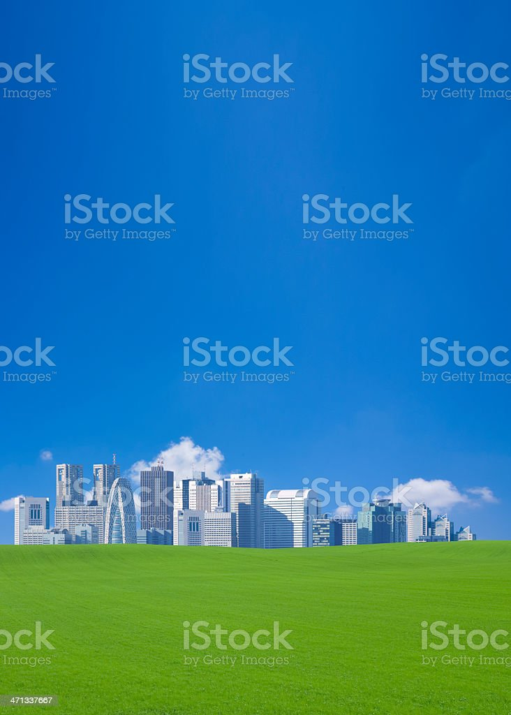 Green field and skyscrapers royalty-free stock photo