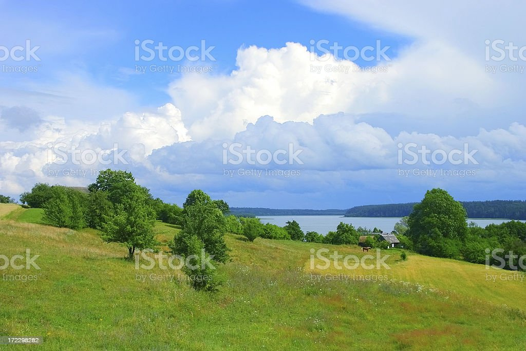 Green field Landscape house horse and water royalty-free stock photo
