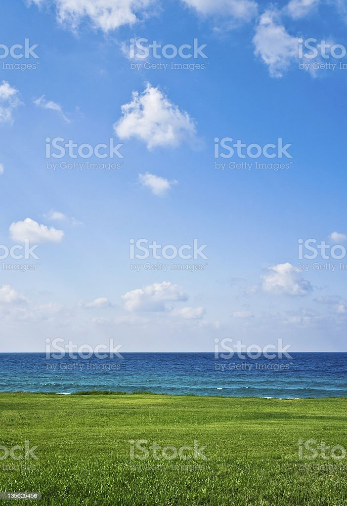 Green field on the seacoast royalty-free stock photo