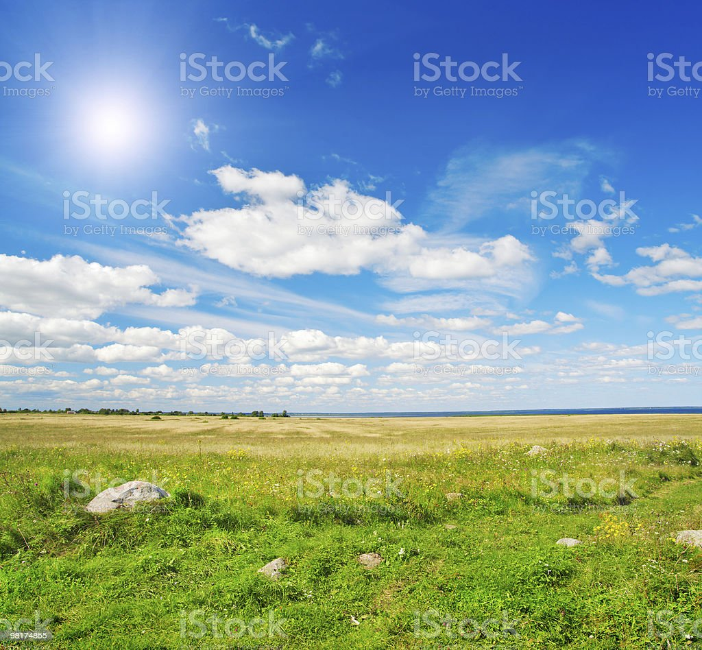 Green field under blue cloudy sky whit sun royalty-free stock photo