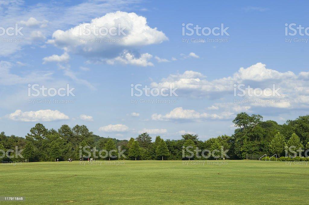 Jogadores de futebol jogando futebol no campo de futebol com bola de futebol - foto de acervo