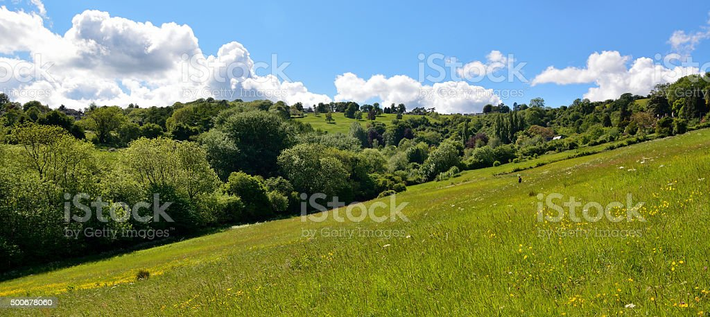 Green fields and hills of Charlcombe valley, near Bath, UK stock photo