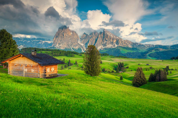 Green fields with wooden house and high mountains at sunset stock photo