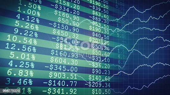 istock Green financial report merging with graph lines 998275020