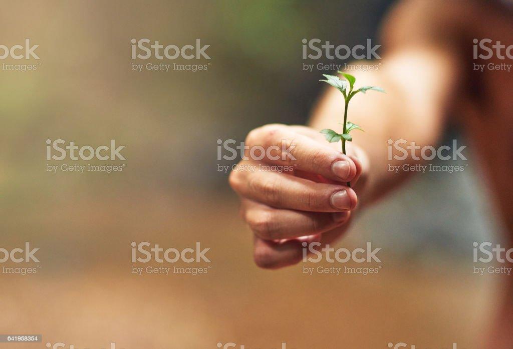 Verde los dedos - foto de stock