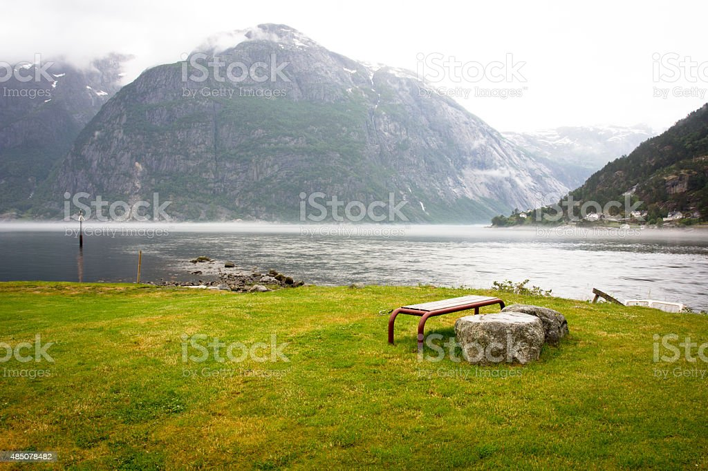 Green fjord stock photo
