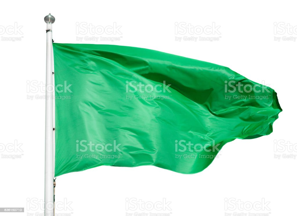 green flag isolated stock photo