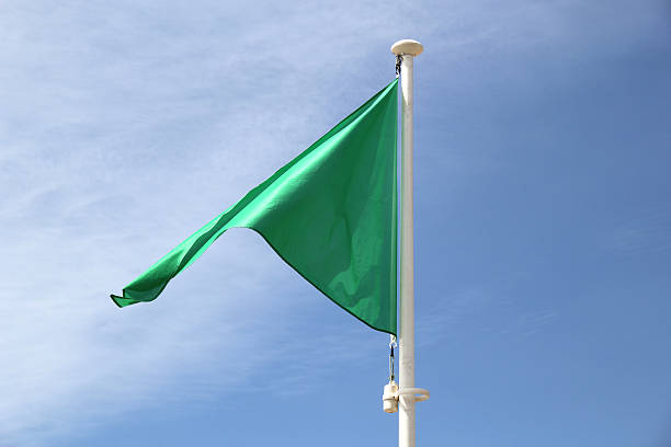 Green flag on a beach. stock photo