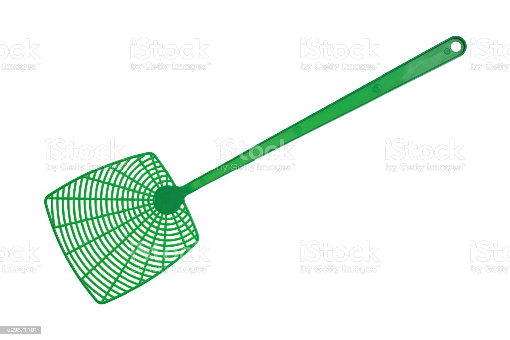 Green fly swatter stock photo