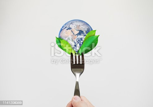 Green food, environmental concept. Hand holding fork with leaves and globe. Element of this image are furnished by NASA (https://svs.gsfc.nasa.gov/11650)