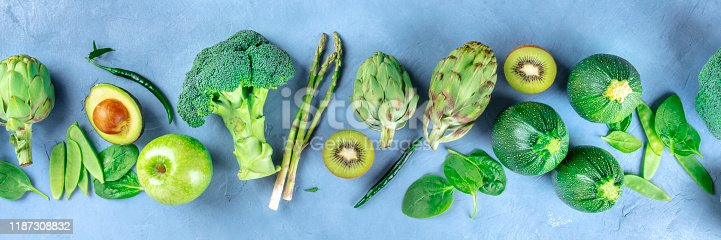 istock Green food panorama, fruit and vegetables, detox diet, a flat lay top shot 1187308832