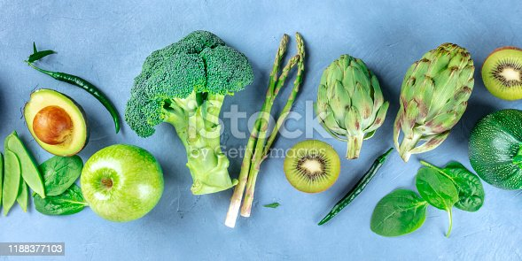 istock Green food panoramic overhead shot, fruit and vegetables, detox diet, a flat lay 1188377103