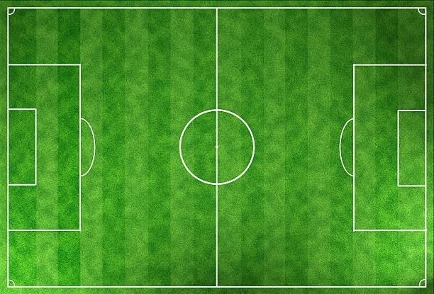 grüne fußball-stadion field - spielplatz design stock-fotos und bilder