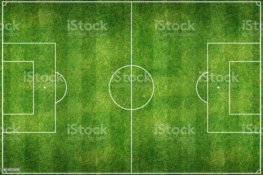 Green Football Stadium field stock photo