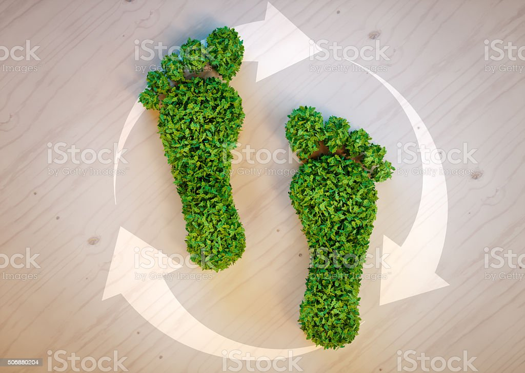 Green footprint concept stock photo