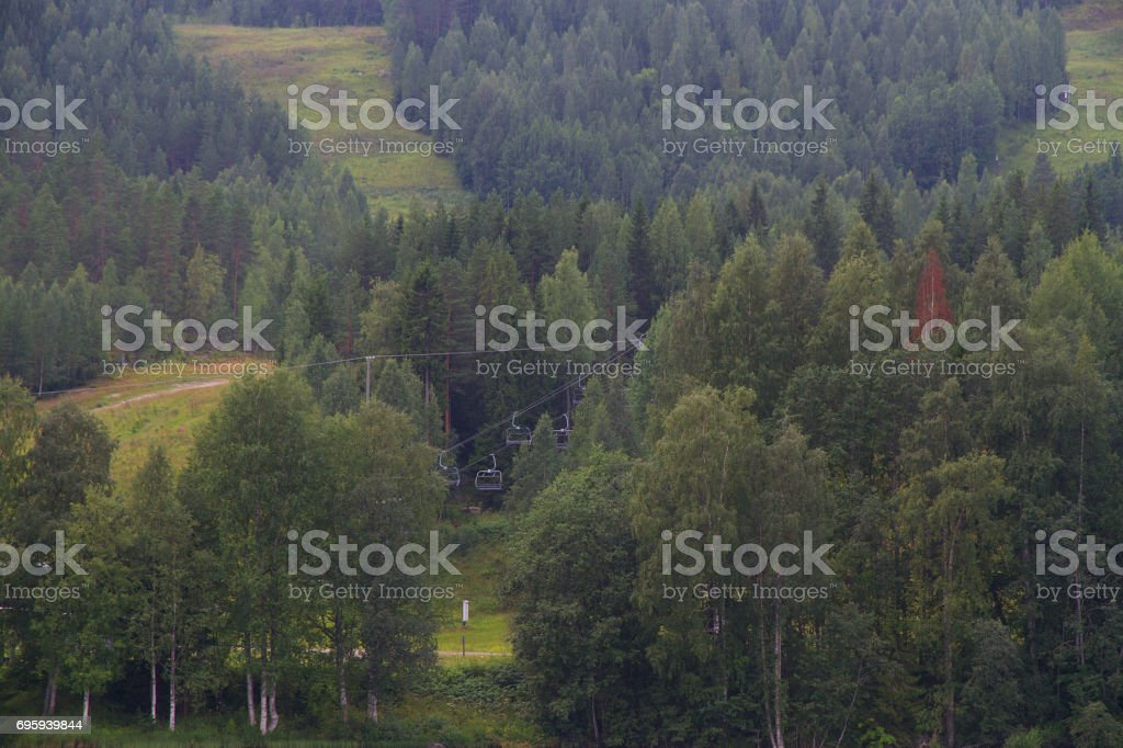 Green forest with ski lift in Finland in a summer day. стоковое фото