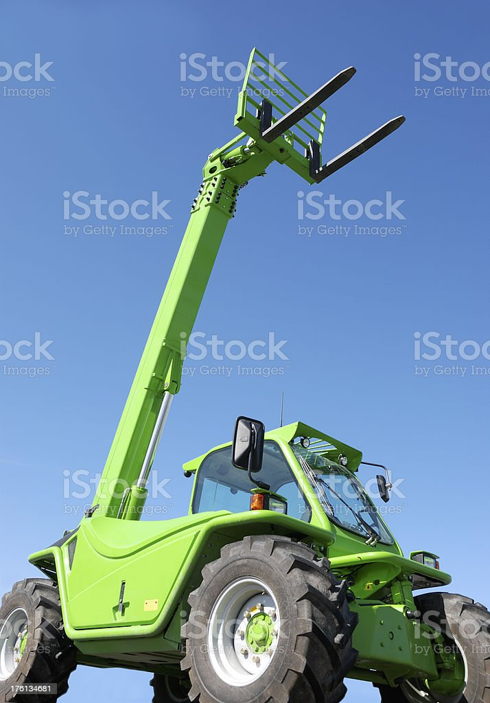 Green forklift. royalty-free stock photo
