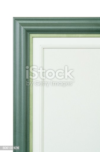 istock Green frame and painter artist canvas isolated on white 506132426