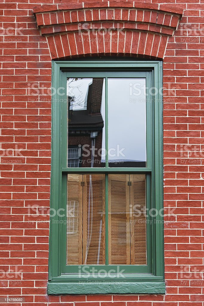Green Framed Window royalty-free stock photo