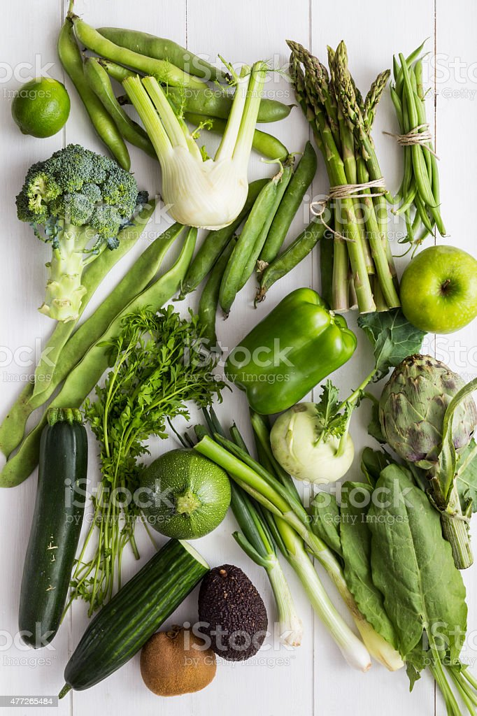 Green fruit and vegetable collection stock photo