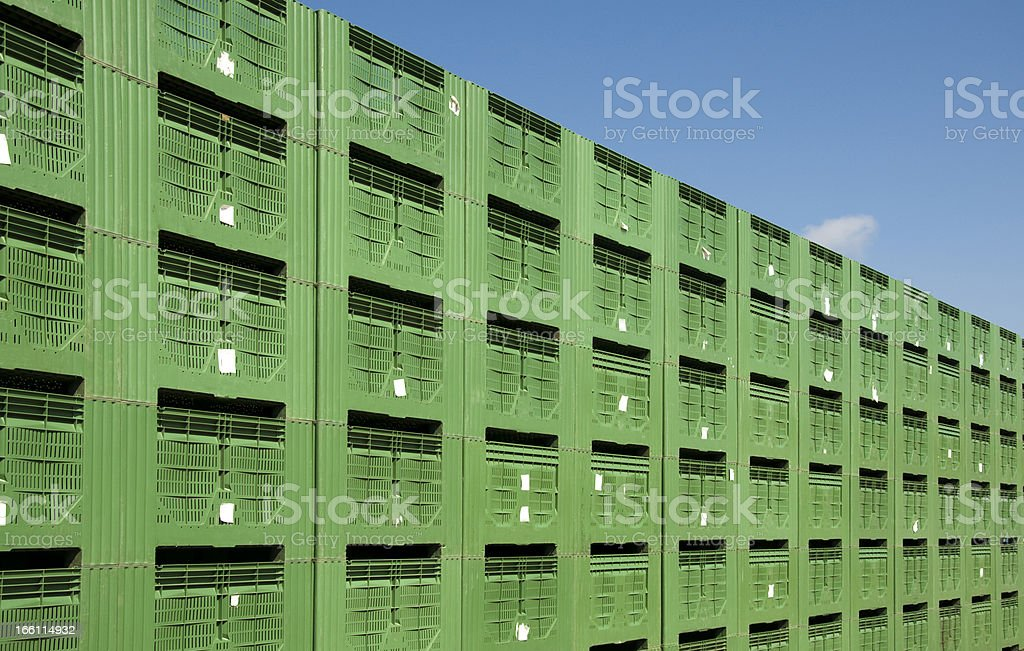 Green Fruit packing crates stock photo